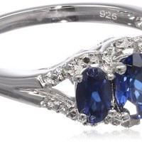 Sterling Silver Created Blue Sapphire Diamond-Accented Ring, Size 7