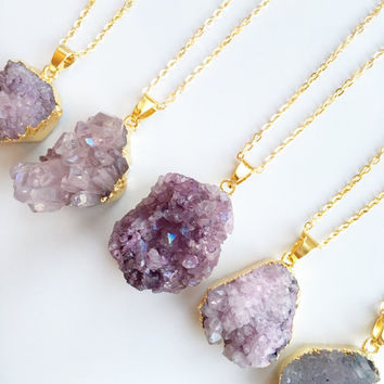 FREE UK SHIPPING - Purple Druzy Natural Crystal Necklace - Rough Natural Stone Pendant - Amethyst