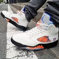 NIKE Air jordan 5 high top men's and women's color matching sneakers casual shoes White