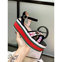Gucci Casual Fashion Ankle Bee Buckle Gray Women Cross Sandalsl Slipper Shoes