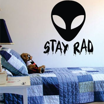 Alien Stay Rad Design Outer Space Decal Sticker Wall Vinyl Art Home Room Decor