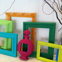 Frame Collage Funky Bright Home Decor Upcycled Vintage Frames Hollywood Regency Apartment Decor Quirky Decor