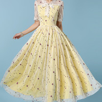 Yellow Tie Collar Short Sleeve Mesh Embroidered A-line Pleated Maxi Dress