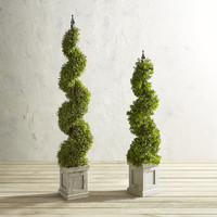 Outdoor Faux Boxwood Spiral Topiary