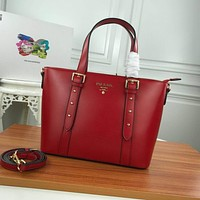prada women leather shoulder bags satchel tote bag handbag shopping leather tote crossbody 391