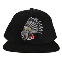 Lion Chief Snapback Hat in black