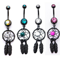 14g 7/16 Black PVD Navel with gem dream catcher charm, CLEAR; sold individually