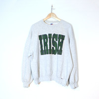 IRISH St. Patrick's Day Sweatshirt | Green Plaid Type | March Holiday Clothing | Adult Size Large