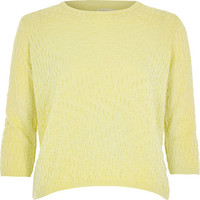 River Island Womens Yellow textured stitch 3/4 sleeve top