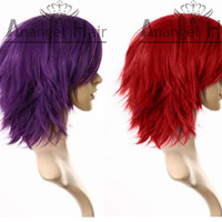 "Free Hair Cap+For Adults For Kids 16""/40cm layered flip out heat-resist Theater Cosplay Wig Red /Purple Wigs Cosplay Convention Anime Event"