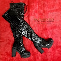 Blogger Black Croc Thigh High Chunky Block Heel Lace Up Platform Boots 6 -11