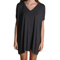 Dark Grey Piko Tunic V-Neck Short Sleeve Dress