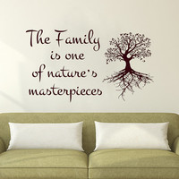 Wall Decals Family is one of nature's masterpieces Quote Decal Vinyl Sticker Tree Home Decor Bedroom Dorm Living Room MN 243