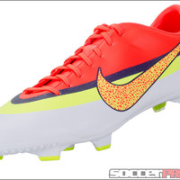 Nike Mercurial Veloce CR FG Soccer Cleats - White with Total Crimson and Volt - SoccerPro.com