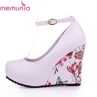 MEMUNIA Fashion Ankle Strap 2017 High Heels Wedges Platform Summer Pumps For Women Casual Elegant Print Wedges Platform Shoes