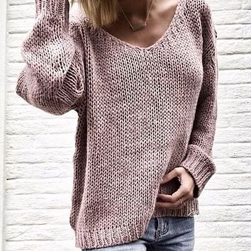 V-Neck Solid Women  Pullover Loose Knitted Sweater