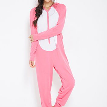 FOREVER 21 Bunny-Hood Pajama Onesuit Pink/White