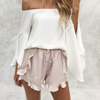 Ruffles high waist shorts