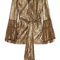 Anna Sui - Fringed metallic devoré-chiffon wrap top