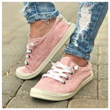 Crazy Cute Lace Up Pink Sneakers