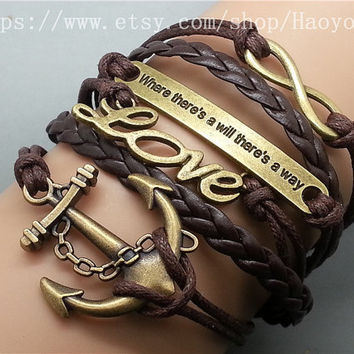Anchor - Love  -Motto (Engraved Where There's a Will There's a Way) -Infinity wish Bracelet-Bronze Charm Bracelet  Cute Personalized Jewelry