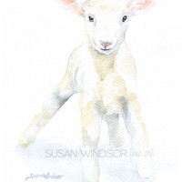 Baby Lamb Watercolor Painting 12 x 16 Gallery Wrapped Canvas Print - Woodland Animal - Nursery Art