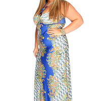 Blue White Paisley Print Beaded Plus Size Summer Maxi Dress