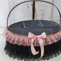 Rusty basket caddy pail adorned black ruffles pink silk ribbon farmhouse home decor piece anita spero
