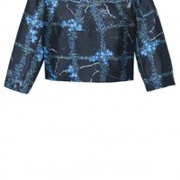 Tibi Windowpane Floral Cropped Top