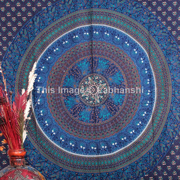 Blue Mandala Tapestry Tapestries , Indian Hippie Wall Hanging , Bohemian Twin Wall Hanging, Bedspread Beach Coverlet throw Decor Art