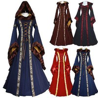 Hirigin Women Medieval Dress2017 New Lace Up Vintage Style Gothic Dress Floor Length Women Cosplay Dresses Retro Gown