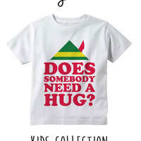 Does Somebody Need A Hug Christmas Elf Heather Grey / White Toddler Kids T Shirt Clothes Gift