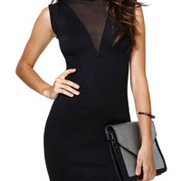 Black Sleeveless with Back Keyhole and Mesh Accent Bodycon Mini Dress