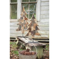 Recycled Wood Printing Block Tree With Metal Base - Small