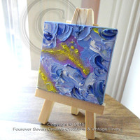 Mini Oil Painting With Easel Original Oil Painting Original Art Abstract Painting Small Oil Painting Mini Painting Clouds View From Above