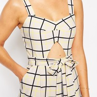ASOS Jumpsuit in Grid Print with Cutout Detail