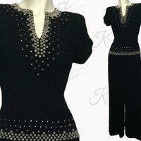 1940s GOWN, 40s Gown, Black Gown, Beaded Gown, Full Length Dress, 40s Dress, 1940s Dress, Crepe Gown, Evening Gown
