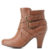 City Classified Belt-Wrapped Ankle Booties - Cognac