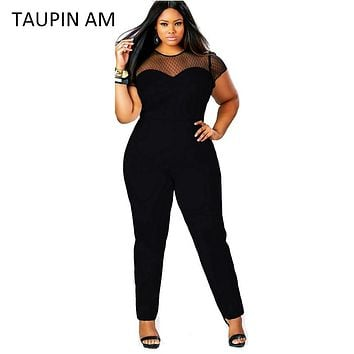 TAUPIN AM Plus size jumpsuit Sexy mesh elastic short sleeve long pants jumpsuits rompers Autumn lace women jumpsuit