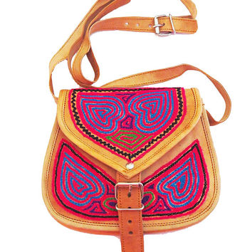 INDIAN LEATHER BAG, Bohemian bag, Hippie leather bags, colorful embroidered cross body bag,Tribal pattern sling Bag, India Bag
