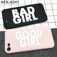 Fashion Cute BAD GOOD GIRL Soft TPU Ultra Thin Cover for iPhone 7 Case Silicone Funny Slim Phone Shell Capa for iphone 7 plus