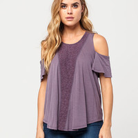 OTHERS FOLLOW Cold Shoulder Crochet Womens Top | Blouses
