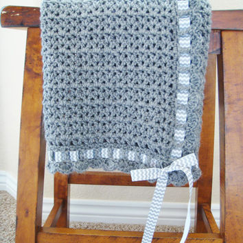 Crochet Baby Blanket With Ribbon - Gender Neutral Baby Shower Gift - Hand Made Baby Blanket - Stroller Blanket - Baby Afghan - Lap Blanket