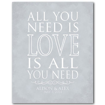 Modern Wall Art - All You Need is LOVE is all you need - Typography - Personalized customizable print - Valentine's Wedding Anniversary Gift