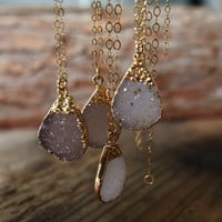 Druzy Drusy Golden Necklace Teardrop Drusy Pendant Gold Filled Light Beidge Lavendar Gemstone Bridal Jewelry Bridesmaid Necklace