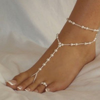 Anklets Womens anklet Beach Imitation Pearl beaded barefoot sandals Foot