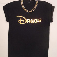 unique drugs gold disney top T-shirt oversized slouchy indie skater hiphop