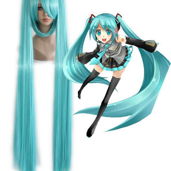 Long Cosplay Vocaloid Miku Hatsune Wig Ponytails,New Highlight Ombre Colorful Candy Colored synthetic Hair Extension Hair piece 1pcs WIG-072A