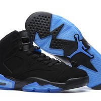 Beauty Ticks Nike Air Jordan Retro 6 Vi Black Blue Aj6 Men Sports Basketball Shoes