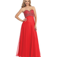 Ruby Strapless Crisscross Sweetheart Empire Waist Chiffon Dress 2015 Prom Dresses